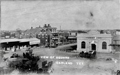 The square in Garland, Texas. The Garland Hotel is the three story building in the middle of the photo.