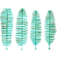 Original Green Ferns Painting, Forest Green Watercolor Ferns with hues... ($45) ❤ liked on Polyvore featuring home, home decor, wall art, leaf drawing, leaf wall art, watercolor wall art, fern wall art and leaves painting
