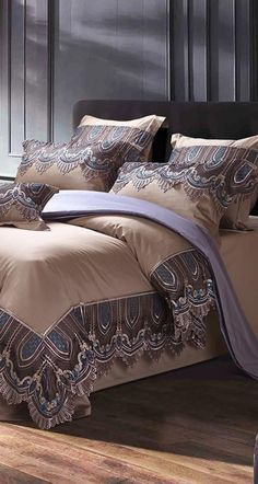 Sleeping in the comfort and luxury of Egyptian Cotton Bedding is something that everyone should enjoy at least once. This is the right way to complement yourself in your sleep with the best comfort. Like this Brown Luxury Bedding Set with Lace design that is specially made in Egyptian Cotton fabric to create the perfect sleeping environment for you that will improve your bedroom decor as well. #bedding #duvet #duvetcover #beddingset #bedlinen #bedsheet #egyptian #egyptiansheet #bedroom #bed