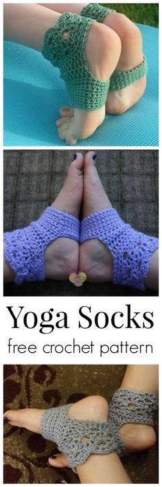 Free crochet pattern for yoga socks.  Really pretty.
