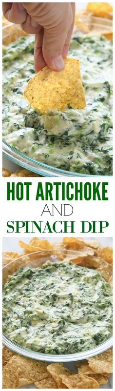 Hot Artichoke and Spinach Dip - so easy and our go-to dip! the-girl-who-ate-everything.com