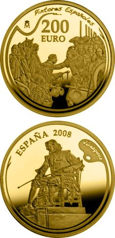 N♡T.200 euro: Spanish Painters Series - Velázquez.Country: Spain Mintage year:2008 Face value:200 euro Diameter:30.00 mm Weight:13.50 g Alloy:Gold Quality:Proof Mintage:3,500 pc proof