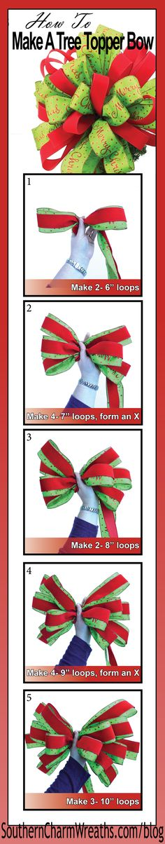 Video- How to make a Christmas Tree Topper Bow using 20 yards of ribbon. http://southerncharmwreaths.com/blog/how-to-make-a-tree-topper-bow/