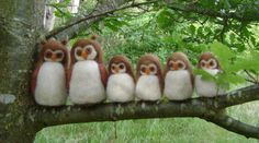 Beautiful Wool Owl Family  -  Needle felted in pure  wool