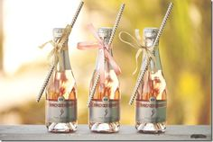 Mini Champagne Bottles for the Bridal Suite.
