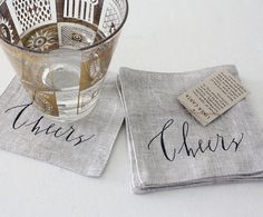 set of 6 'cheers' coasters in berry tones for lauren by lineacarta, $48.00