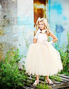 Peach Flower Girl Dress with Tulle Skirt--Girls Formal Wear-Peach Ivory Cream-Perfect for Weddings or Portraits-----Afternoon Tea by BellaBeanCouture on Etsy https://www.etsy.com/listing/158519425/peach-flower-girl-dress-with-tulle-skirt
