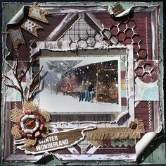 First Snow - Heritage scrapbook layout