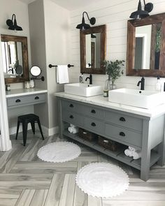 Modern Farmhouse Master Bath Renovation - Obsessed with our vanity spaces! Modern Farmhouse Master Bath Renovation – Obsessed with our vanity spaces! Modern Farmhouse Master Bath Renovation – Obsessed with our vanity spaces! Bathroom Renos, Bathroom Renovations, Home Remodeling, Master Bathrooms, Bathroom Makeovers, Bathroom Fixtures, Master Bath Vanity, Bathroom Double Vanity, Shiplap Bathroom Wall