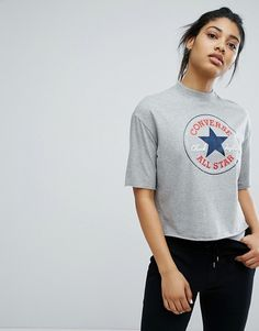 17aa4c2ed62f Converse High Neck Cropped T-Shirt In Gray