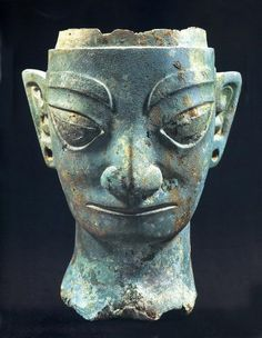 Sanxingdui culture bronze head artifact, State of Shu (蜀), an ancient state in what is now Sichuan, China. Shu was based on the Chengdu Plain, in the western Sichuan basin. This independent Shu state was conquered by the state of Qin in 316 BC, but recent archaeological discoveries at Sanxingdui and Jinsha thought to be sites of Shu culture indicate the presence of a unique civilization in this region before the Qin conquest.