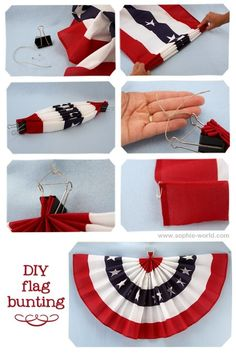 Front Porch – Independence Day Decorating Ideas -Tutorials, including this DIY flag bunting from Sophie's World. Patriotic Bunting, Blue Bunting, Fabric Bunting, Patriotic Crafts, July Crafts, Buntings, Diy 4th Of July Bunting, American Flag Bunting, Fall Bunting