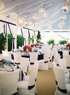 Nautical wedding decor by Mindy Weiss never thought the black.would look so pretty. Tent Wedding, Mod Wedding, Wedding Receptions, Wedding Events, Wedding Favors, Wedding Cakes, Sailor Wedding, Wedding Tent Lighting, Wedding Draping
