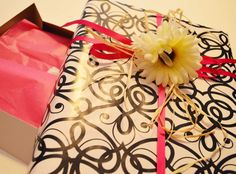 """Black, white and pink wrapped apparel gift box (9.5"""" X 15"""") on Etsy!"""