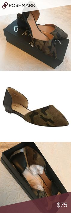 Banana republic aiden dorsay flat in camo Beautiful piece that I find myself not wearing! Leather and faux calf hair. Great condition other than the minor scuffs on tip of toe as pictured. Comes in original box. Pet and smoke free home. Banana Republic Shoes Flats & Loafers