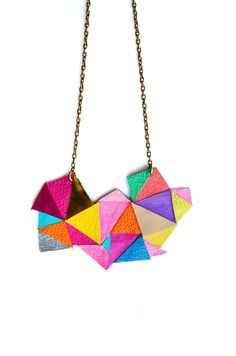 Art leather Geometric Statement Necklace - inspiration for the Emily collection!