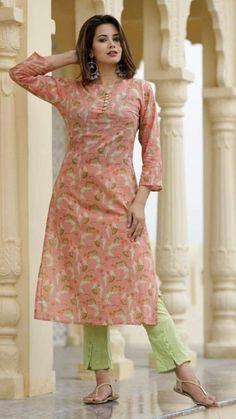 Printed Kurti Designs, Simple Kurti Designs, Kurta Designs Women, New Kurti Designs, Chudidhar Designs, Kurti Patterns, Dress Patterns, Dress Neck Designs, Blouse Designs