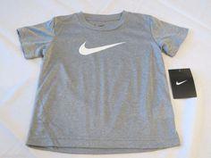 Boys Youth Dri Fit Nike 4 gray 017 T shirt Swoosh NEW NWT 869390 Training logo #NikeDriFit
