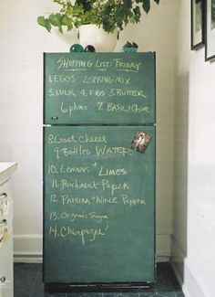Chalkboard painted appliances, I did this in an old house in black chalkboard paint, everyone loved it....I miss it =/ would totally do it again!