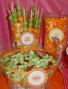 Pool Party Idea:  green grape and cantaloupe skewers
