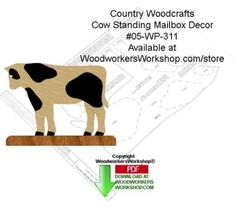 05-wp-311 - Cow Standing Mailbox Decor Woodcraft Sign Pattern Downloadable PDF…