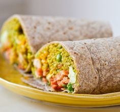 Vegan Spicy Curried Quinoa Wrap with mint, peas and Tahini-Avocado-Citrus Slaw is a tasty, and satisfying vegan recipe for lunch, dinner - or heck, even breakfast!