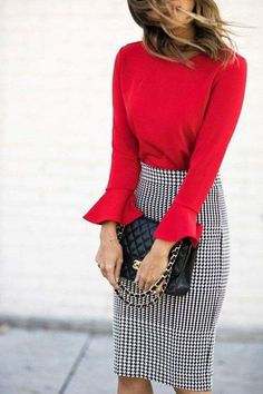 a retro printed pencil skirt, a red shirt with flare sleeves and a black bag Pattern skirt  Bell sleeves