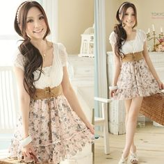 Free Shipping Pink Spliced Printed Floral Chiffon Korean Fashion Dress With Belt H6378 $18.08