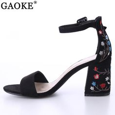 2018 Sexy women sandals open toe embroidery heels classic buckle strap  platform woman sandals gladiator shoes women high heels 28c2cb4e2fd8