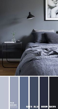 Bedroom color scheme ideas will help you to add harmonious shades to your home which give variety and feelings of calm. From beautiful wall colors& Source by The post Dark Blue Grey Bedroom Color appeared first on Rosa Home Decor. Grey Colour Scheme Bedroom, Dark Gray Bedroom, Blue Bedroom Colors, Dark Blue Bedrooms, Gray Bedroom Walls, Blue Rooms, Home Bedroom, Modern Bedroom, Calming Bedroom Colors