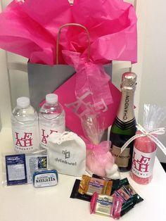 water, split of sparkling wine, a candle, hangover kit & hand soaps Bachlorette Party, Bachelorette Parties, Hotel Welcome Bags, Wine Fridge, Wine List, Sparkling Wine, Wedding Welcome, Christmas Wedding, Vodka Bottle