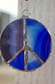 Purple and Blue Peace Sign Stained Glass Sun by DianeMarieArt