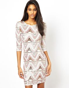 TFNC Bodycon Mini Dress with Aztec Sequins