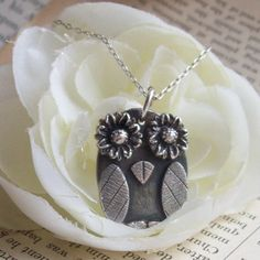PMC silver jewelry Owl Silver Necklace Owl Silver by ArtisanSilver