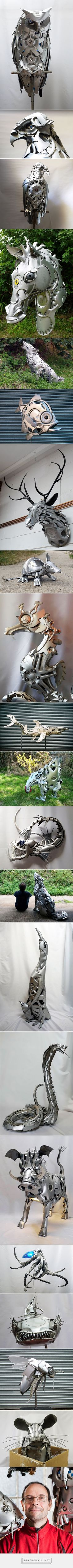 Artist Recycles Old Hubcaps Into Stunning Animal Sculptures | Bored Panda - created via http://pinthemall.net