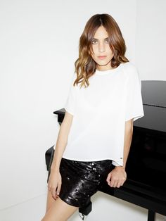 When choosing a sequin party skirt, Alexa Chung says less disco, more dashing. *Tommy Hilfiger NYE challenge*