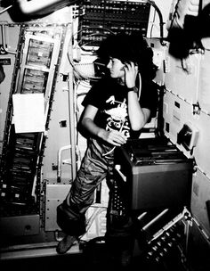 RIP, Badass. Astronaut Sally K. Ride, STS-7 mission specialist, communicates with ground controllers from the mid-deck of the earth-orbiting Space Shuttle Challenger in June 1983.