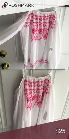 Pink & White off the shoulder top! Pink & White off the shoulder top! Charming Charlie Tops Blouses