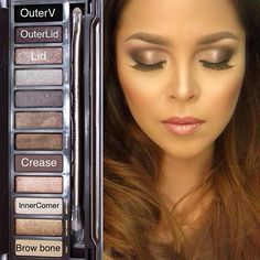 I love pins like this that show you exactly what colors to wear. This is the Naked 2 Palette. http://thepageantplanet.com/category/hair-and-makeup/ | pretty!