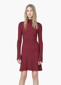 Vestido punto canalé - Vestidos de Mujer | MANGO
