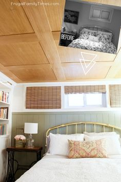 How to Make a Small High Basement Window Look Bigger (with Trim and Blinds!) |  #basement #budgetdecor #farmhouse #cottagedecor #bedroom #frugalfamilytimes