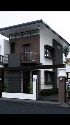 Beautiful minimalist home design exterior ideas furniture is one of images from minimalist house design exterior. Find more minimalist house design exterior images like this one in this gallery Bungalow House Design, House Front Design, Tiny House Design, 3 Storey House Design, Two Storey House, Minimalist House Design, Minimalist Home, House Elevation, Front Elevation