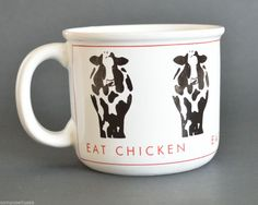 "#onsalenow #ebay Cow Coffee Mug ""Eat Chicken"" by Papel Cup Freelance #eatmorchicken $11.99"