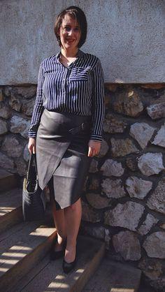 VGRV blog, grey leather wrap skirt, grey leather bag, navy blue striped shirt