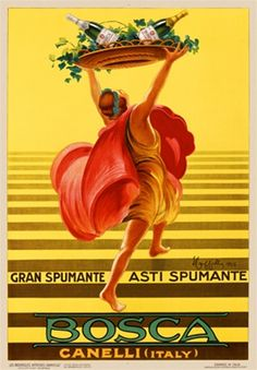 Bosca Asti Spumante Champagne by Cappiello 1925 Italy - Beautiful Vintage Poster Reproduction. This vertical Italian wine and spirits poster features a dancing woman holding aloft two bottles of Spumante on a platter.  Giclee Advertising Print