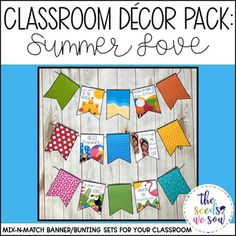 Do you have a space on your classroom wall or door where you need that perfect piece of seasonal or holiday decor? Look no further! This Summer Decor Banner Pack has got you covered. Its fun and fresh design will bring the perfect Summer vibe to your classroom!
