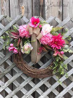 Summer Pink Hydrangea Rose Wreath Free Shipping www.etsy.com/listing/612409060/summer-wreath-pink-wreath-free-shipping