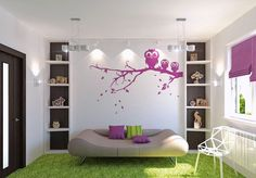 bedrooms-adorable-white-teenage-girl-bedroom-painting-idea-with-white-wall-with-purple-tree-branch-motive-and-purple-cushions-on-the-brown-s...