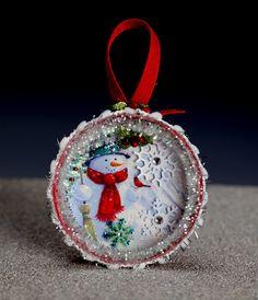 Christmas Ornament Mason Jar lid Snowman with snow by SLDawards