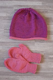 Hat and simplest gloves from Drops Cotton Merino. Ravelry project.